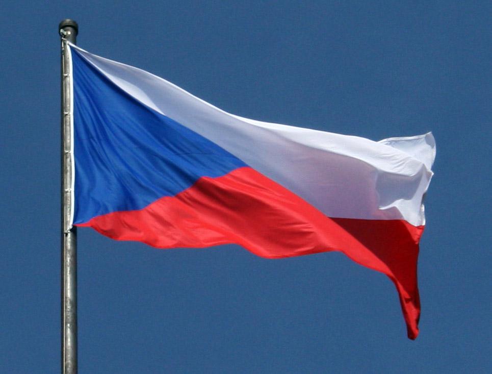 Česká vlajka na stožáru