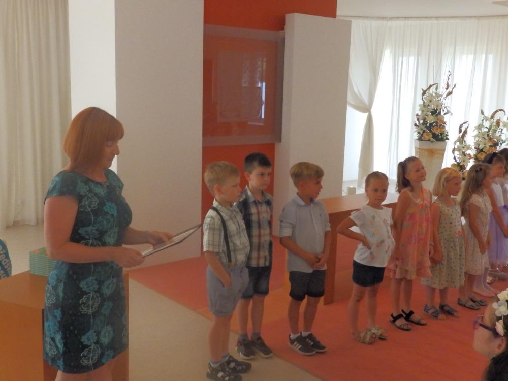 Rozloučení s předškoláky na OÚ - proslov paní učitelky Škrhákové